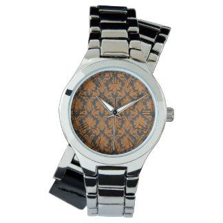 Halloween Orange Damask Chalkboard Pattern Wristwatches