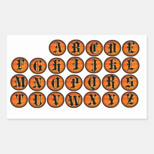 Halloween Orange Gothic Letter Stickers
