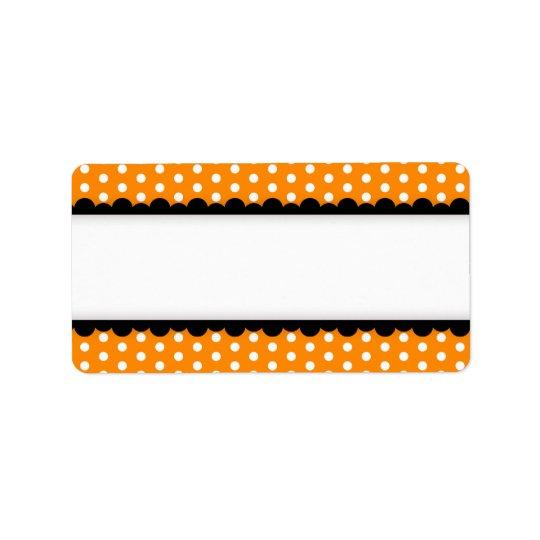 Halloween orange polka dots black scalloped border label