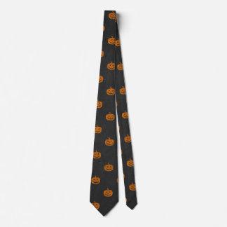 Halloween Orange Pumpkin Chalkboard Pattern Tie