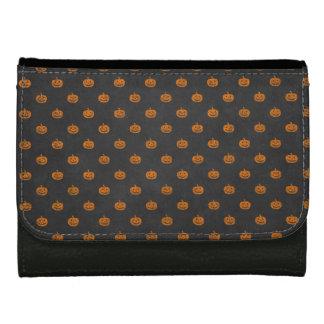 Halloween Orange Pumpkin Chalkboard Pattern Wallet For Women