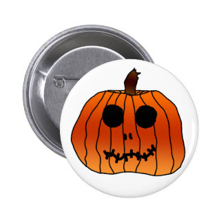 Halloween Orange Pumpkin Face Pinback Button
