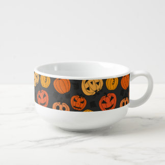 Halloween Orange Pumpkin Pattern Soup Mug