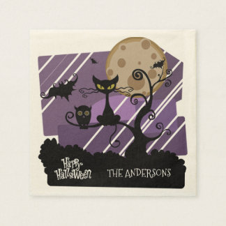 Halloween Owl and Cat Personalized Napkin Disposable Napkins