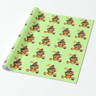 Halloween Owl and Cupcake Wrapping Paper