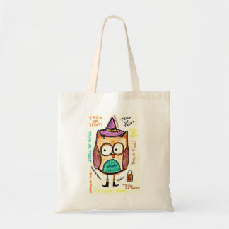 Halloween Owl in Witch Hat and Boots Tote Budget Tote Bag