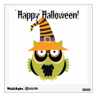Halloween Owl in Witch's Hat Wall Decal
