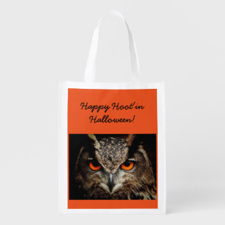 Halloween Owl Trick Or Treat Tote Reusable Grocery Bag