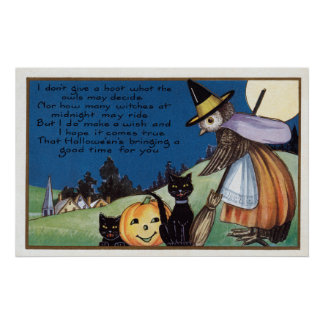 Halloween owl witch black cats vintage poster