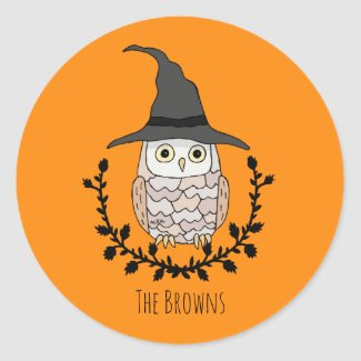 Halloween Owl Witch Hat Halloween Party Favor Classic Round Sticker