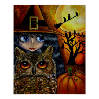 Halloween Owl Witch Poster