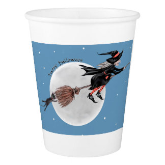 Halloween paper cup-Witch and her black cat Paper Cup