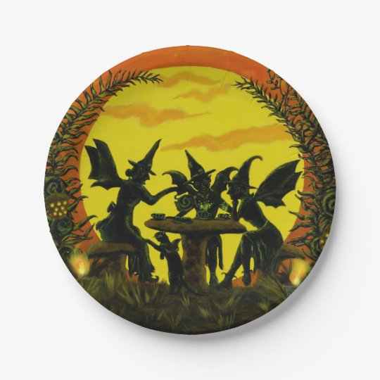 Halloween paper party plates, witches tea party 7 inch paper plate