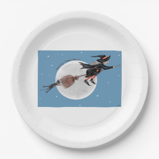 Halloween Paper Plate-Witch and her black cat Paper Plate