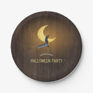 Halloween Party, Bat & Moon, Rustic Background Paper Plate