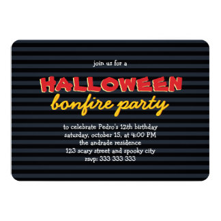 "Halloween Party Bonfire Birthday Teen Boy 12th 5"" X 7"" Invitation Card"