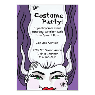 Halloween party - bride of frankenstien invitation