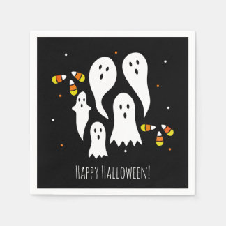 Halloween Party Ghosts & Candy Corn Black Orange Napkin
