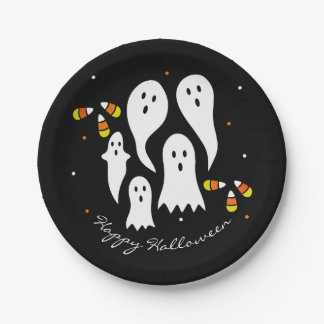Halloween Party Ghosts & Candy Corn Black Orange Paper Plate