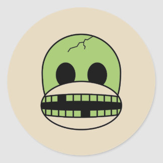 Halloween Party Green Monster Sock Monkey Sticker