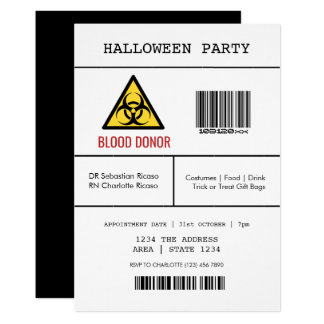 Halloween Party Hazardous Blood Donor Card