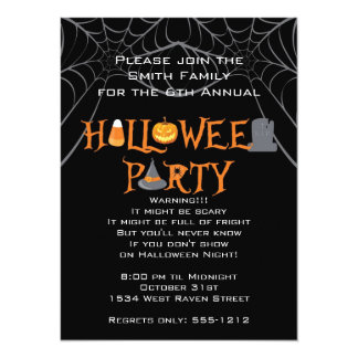 """Halloween Party Iconic Letters 5.5"""" X 7.5"""" Invitation Card"""