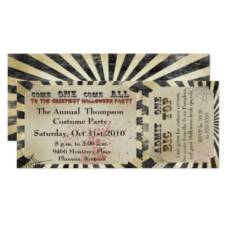 Halloween Party Invitation Circus Ticket