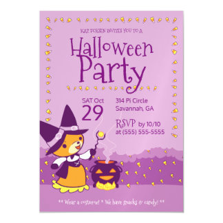 Halloween Party Invitation Fox Witch Summons Candy Magnetic Invitations