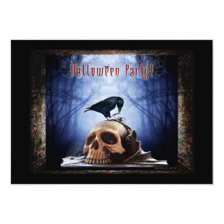 Halloween Party Invitation - Raven on Skull