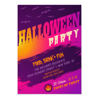Halloween party invitation with bats