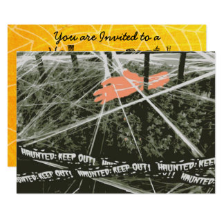 Halloween Party Invitations, Spooky Hand & Webs Card