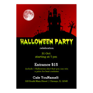 Halloween party large business card