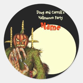 Halloween Party Name Tag - Pumpkin Head Scarecrow Round Sticker