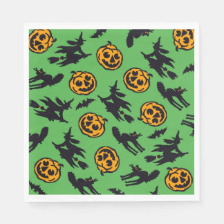 Halloween Party Napkins Green Witches Paper Napkin