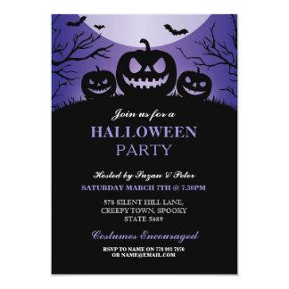 Halloween Party Pumpkin Scary Purple Invitation