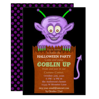 "Halloween Party Purple Goblin Funny Kids 5"" X 7"" Invitation Card"