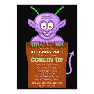 "Halloween Party Purple Goblin Funny Kids 5"" X 7"" Invitation Card"