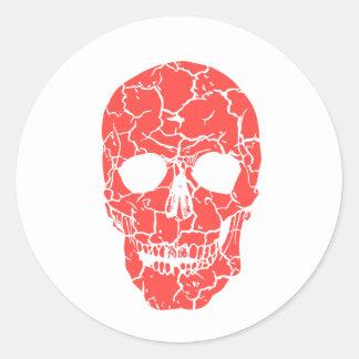 Halloween Party Red & White Skeleton Skull Sticker