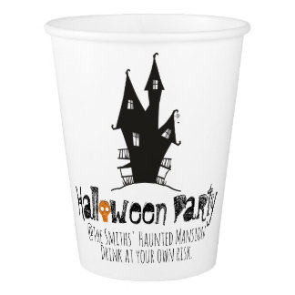 Halloween Party. Scarecrow At the Haunted Mansion. Paper Cup
