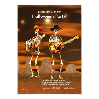 Halloween Party Skeleton Musicians Card