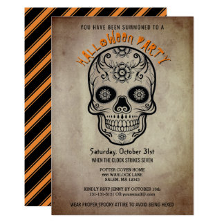 Halloween Party Sugar Skull Day of the Dead Card