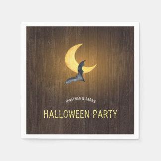 Halloween Party, Watercolor Bat & Moon, Rustic Paper Napkin