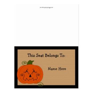 Halloween Patchwork Pumpkin Table Tent Postcard