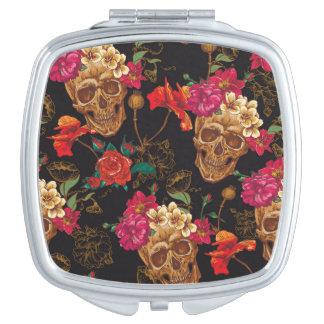 Halloween pattern,skulls,roses,gothic,black,trendy vanity mirror