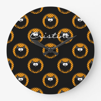 halloween pattern with owls  in hollows clock