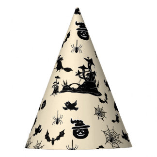 Halloween pattern with pumpkins bats witches party hat