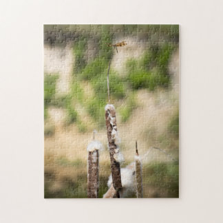 Halloween Pennant Dragonfly on a Cattail Perch Jigsaw Puzzle