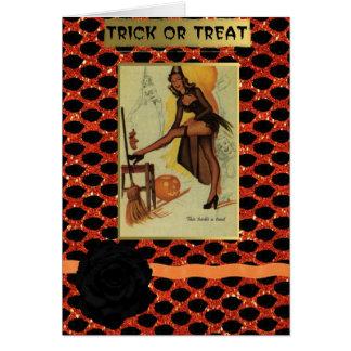 halloween pin up girl greetings card