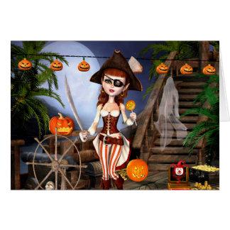 Halloween Pirate Girl Blank Greeting Card