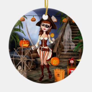 Halloween Pirate Girl Trick or Treasure Ornaments